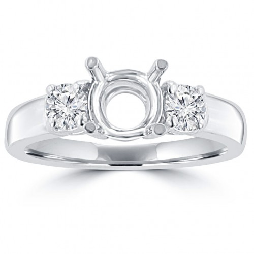 0.60 ct Ladies Round Cut Diamond Semi Mounting Engagement Ring in 14 kt White Gold