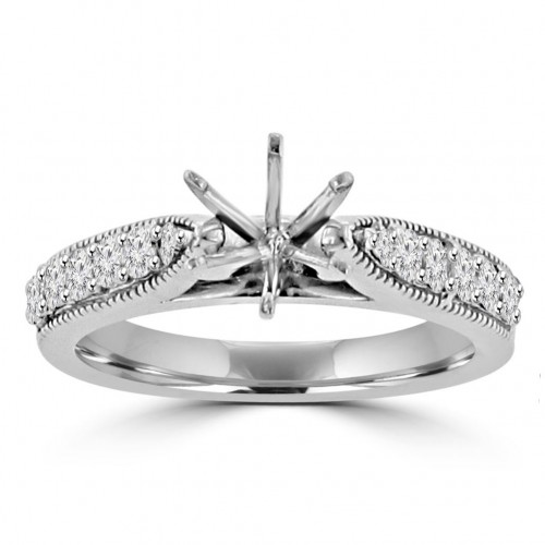 0.70 ct Round Cut Diamond Engagement Semi Mount Ring Whit Millgrain on The Shank