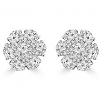 1.80 ct Round Cut Diamond Cluster Earrings In 14 kt White Gold