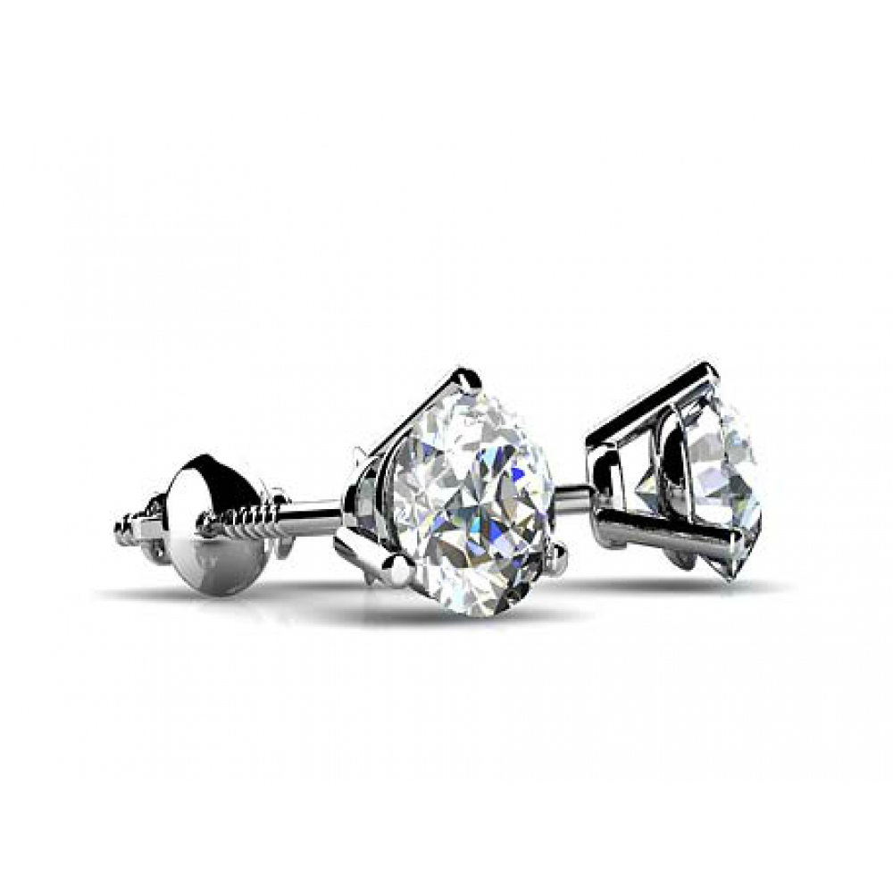 100 Ct Round Cut Diamond Martini Setting Stud Earrings In Screw Back