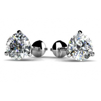 1.00 ct Round Cut Cubic Zirconia Stud Earrings in Martini Setting Screw Back