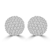 2.35 ct Half Ball Round Cut Diamond Earrings ( G Color SI-1 Clarity) In 14 kt White Gold