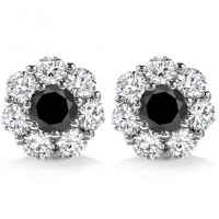 2.00 ct Round Cut Black Diamond Studs Earrings 14 kt White Gold