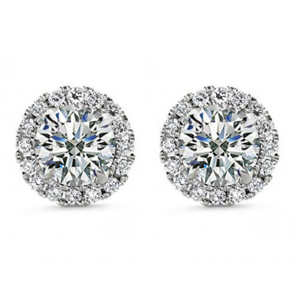 yellow cut gold accent halo cubic stud setting zirconia double round earrings