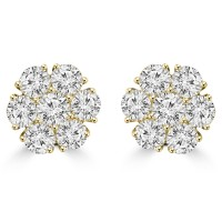 1.80 ct Round Cut Diamond Cluster Earrings In 14 kt Yellow Gold