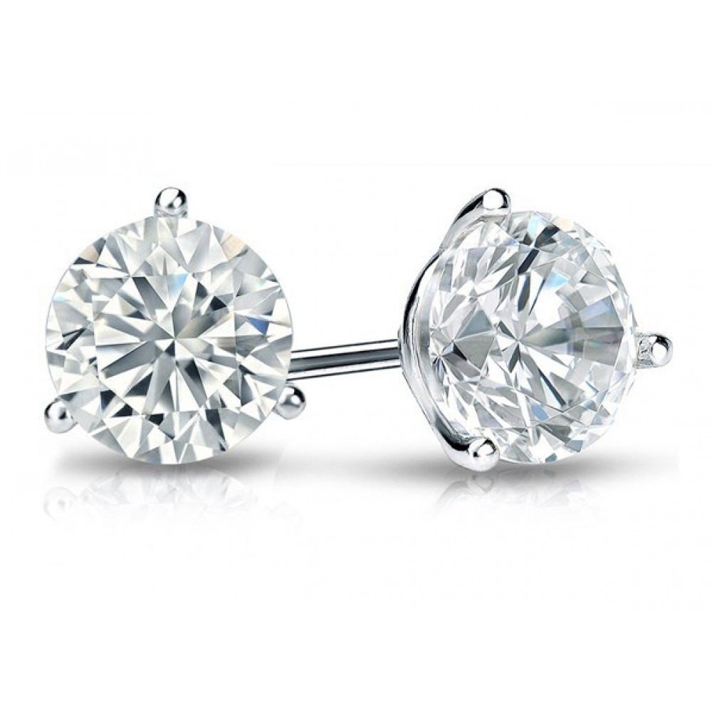 060 ct martini set round cut diamond stud earrings