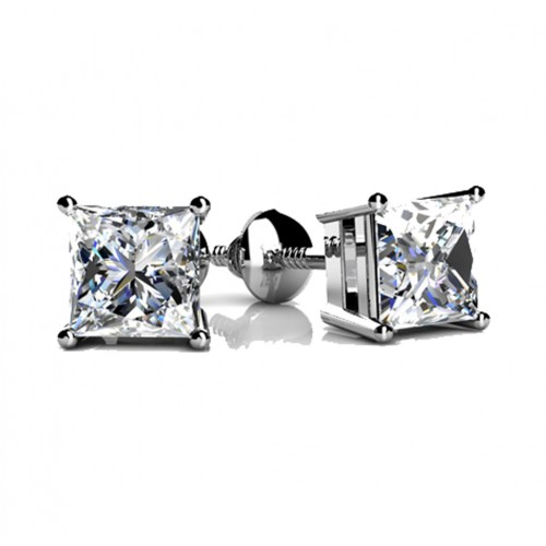 2.00 ct Princess Cut Cubic Zirconia Stud Earrings in Screw Back
