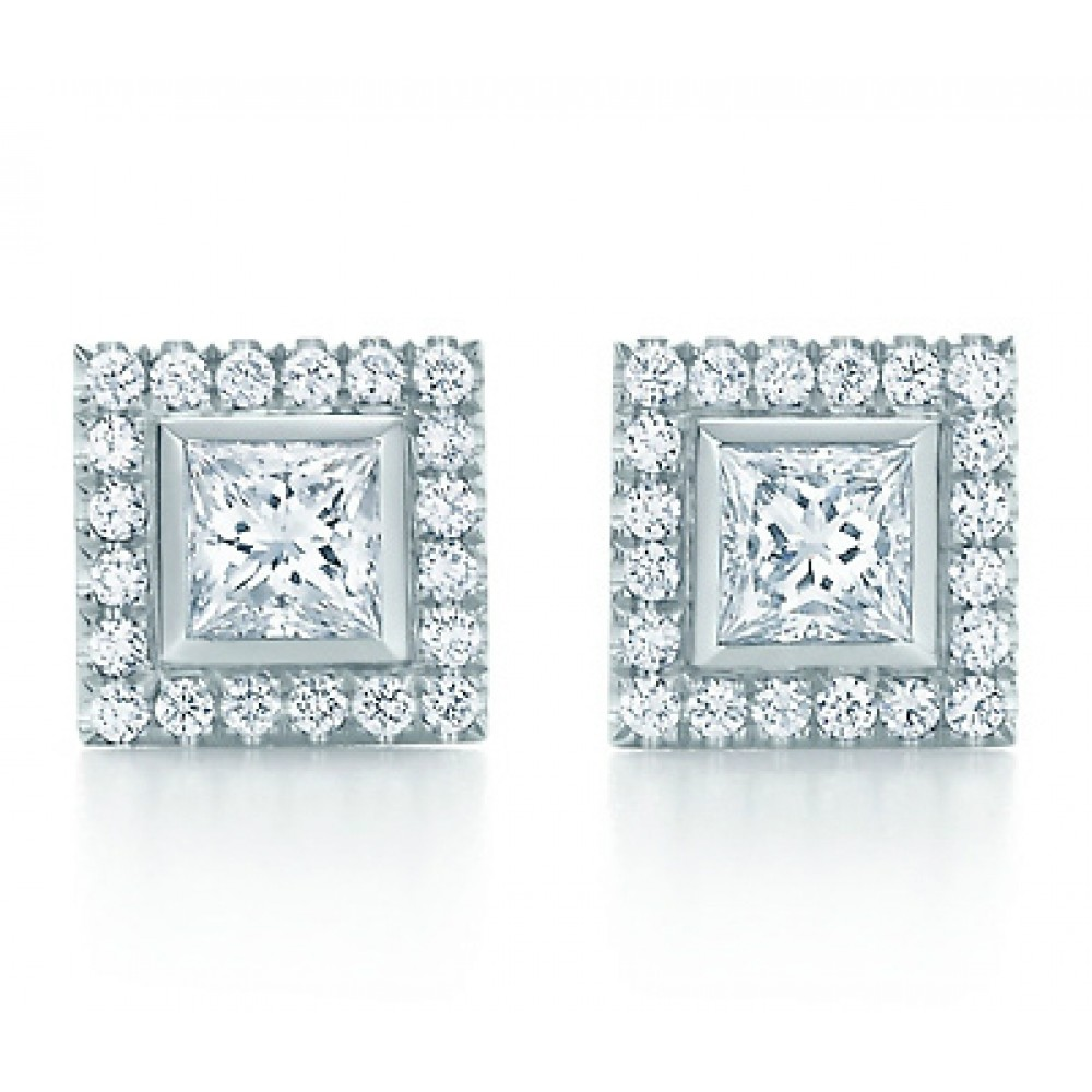princess claw image earring white stud gold diamond collection cut