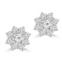 2.35 ct Round Cut Diamond Stud Earrings in Screw Back