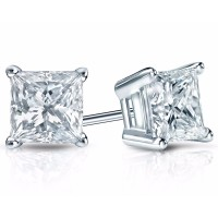 2.00 ct Princess Cut Cubic Zirconia 925 kt Silver Stud Earrings in Push Back