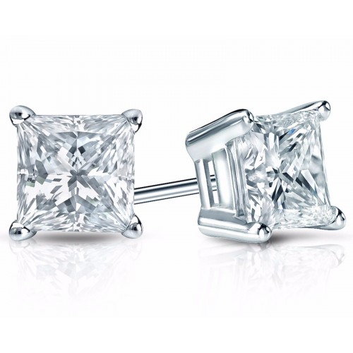 2.00 ct Princess Cut Cubic Zirconia 925 kt Silver Stud Earrings in Push Back