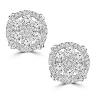 2.10 ct Round Cut Cubic Zirconia Stud Earrings in Screw Back