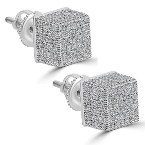 1.37 ct Round Cut Cubic Zirconia Stud Earrings in Screw Back