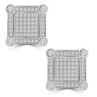 1.35 ct Round Cut Cubic Zirconia Stud Earrings in Screw Back