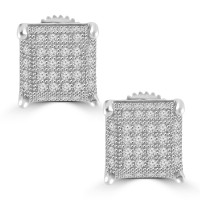 0.51 ct Round Cut Cubic Zirconia Stud Earrings in Screw Back
