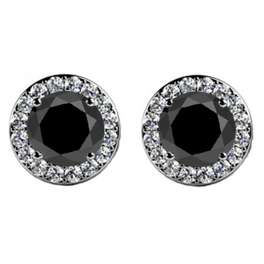 and diamond front tiny prong stone products strand black s diamonds round stud