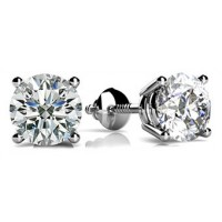 1.70 ct Round Cut Diamond Stud Earrings in Screw Back