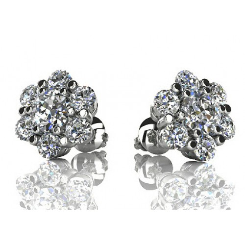 1.50 ct Round Cut Diamond Stud Earrings in Screw Back