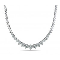 8.00 Ct Ladies Graduated Round Cut Diamond Necklace In 14 Kt White Gold