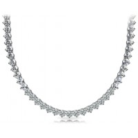 5.00 Ct Ladies Round Cut Diamond Tennis Necklace In 14 Kt White Gold