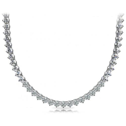 5.00 Ct Ladies Round Cut Diamond Tennis Necklace In 14 Kt White Gold