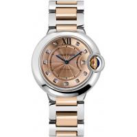 Cartier Ballon Bleu 18k Gold & Steel Diamond Watch WE902054