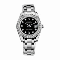 Rolex Pearlmaster 34 81299 White Gold Watch (Black Set with Diamonds)