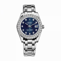 ROLEX Pearlmaster 34 81299 White Gold Watch (Blue Set with Diamonds)
