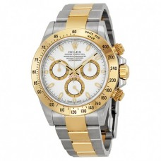 Cosmograph Daytona White Dial Stainless Steel and 18K Yellow Gold Oyster Bracelet Bracelet Automatic Men's Watch