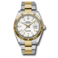 Rolex Oyster Perpetual Datejust 41 Watch White dial, Two-tone, Fluted bezel 126333wio