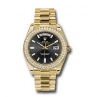 Rolex Day-Date 40  Black dial, Diamond Bezel, President bracelet, Yellow gold Watch 228348RBR bkbdp