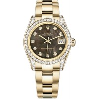 Rolex Datejust 31 Black Mother of Pearl Diamond Watch 178158-BMOPDO