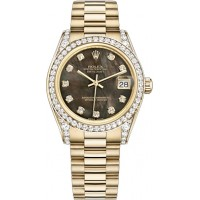 Rolex Datejust 31 Black Mother of Pearl Diamond President Bracelet Watch 178158-BMOPDP