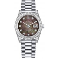 Rolex Datejust 31 Black Mother of Pearl Diamond Ladies Watch 178159-BMOPDP