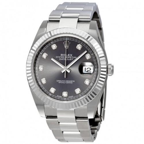 Datejust 41 Rhodium Diamond Dial Automatic Men's Watch