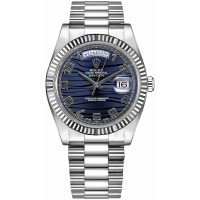 Rolex Day-Date 41 Wave Blue Dial Watch