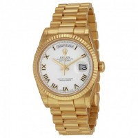 Day-Date White Dial 18K Yellow Gold President Automatic Men's Watch