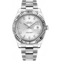 Rolex Datejust II 41 Silver Diamond Dial Men's Watch 116334-SLVDO