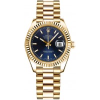Rolex Datejust 31 Blue Dial Automatic Gold Watch 178278-BLUSP