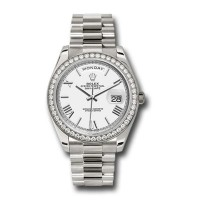 Rolex Day-Date 40 White dial, Diamond Bezel, President bracelet, White gold Watch 228349RBR wrp