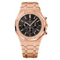Audemars Piguet Royal Oak Chronograph Black Dial 41mm 18k Pink Gold Watch 26320OR.OO.1220OR.01