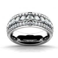 3.00 Ct Ladies Three Row Round Cut Diamond Wedding Band Ring