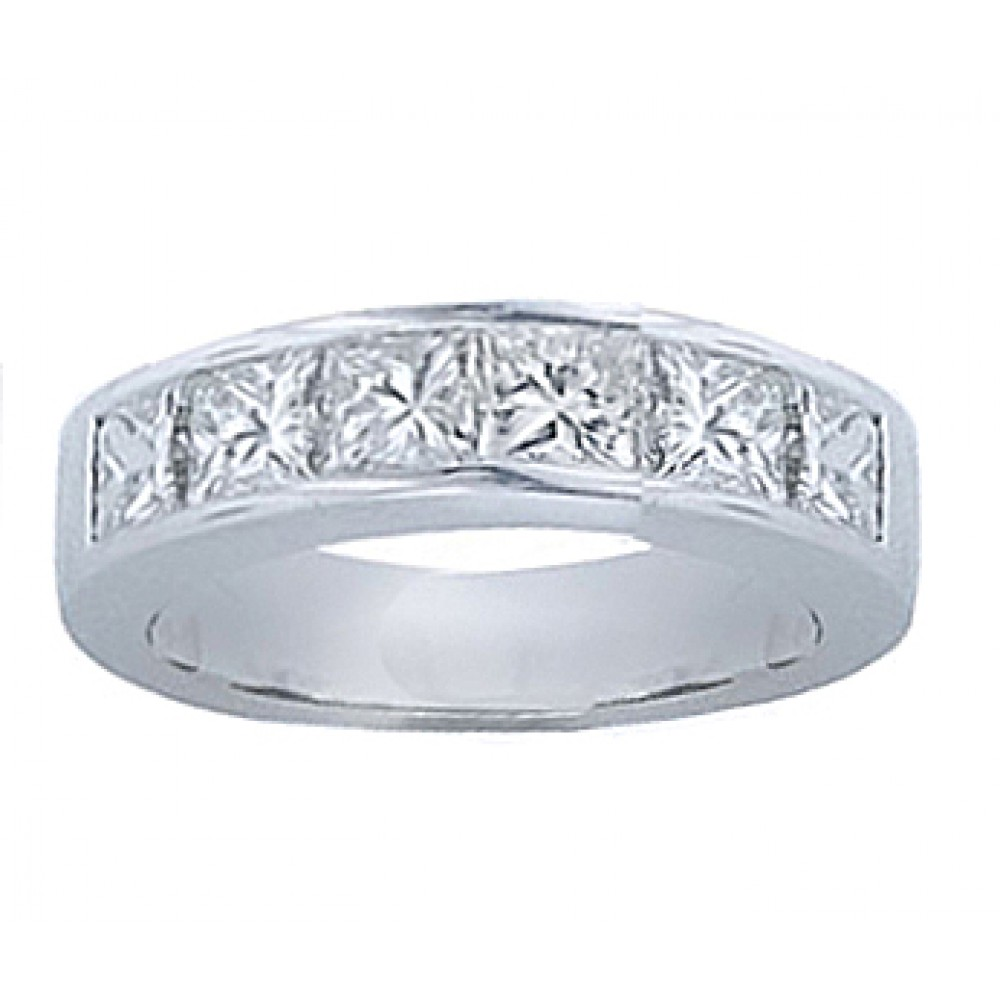1ct Diamond Bands: 1.00 Ct Princess Cut Diamond Wedding Band Ring