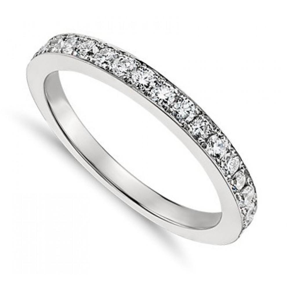 050 Ct Ladies One Row Diamond Wedding Band Ring