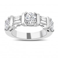 1.54 ct Round and Baguette Cut Diamond Wedding Band Ring
