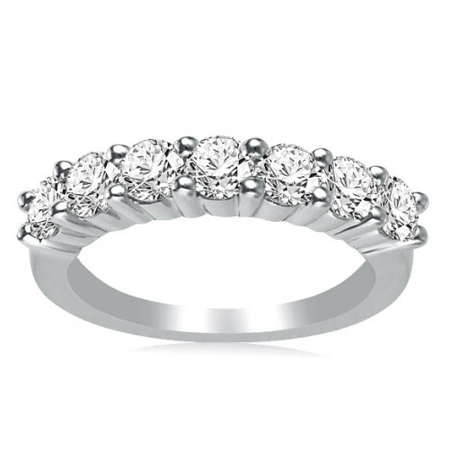 1.00 ct Ladies Round Cut Diamond Wedding Band in 14 kt White Gold