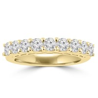 1.20 ct Round Cut Diamond Wedding Band Ring in Prong Setting In Yellow Gold