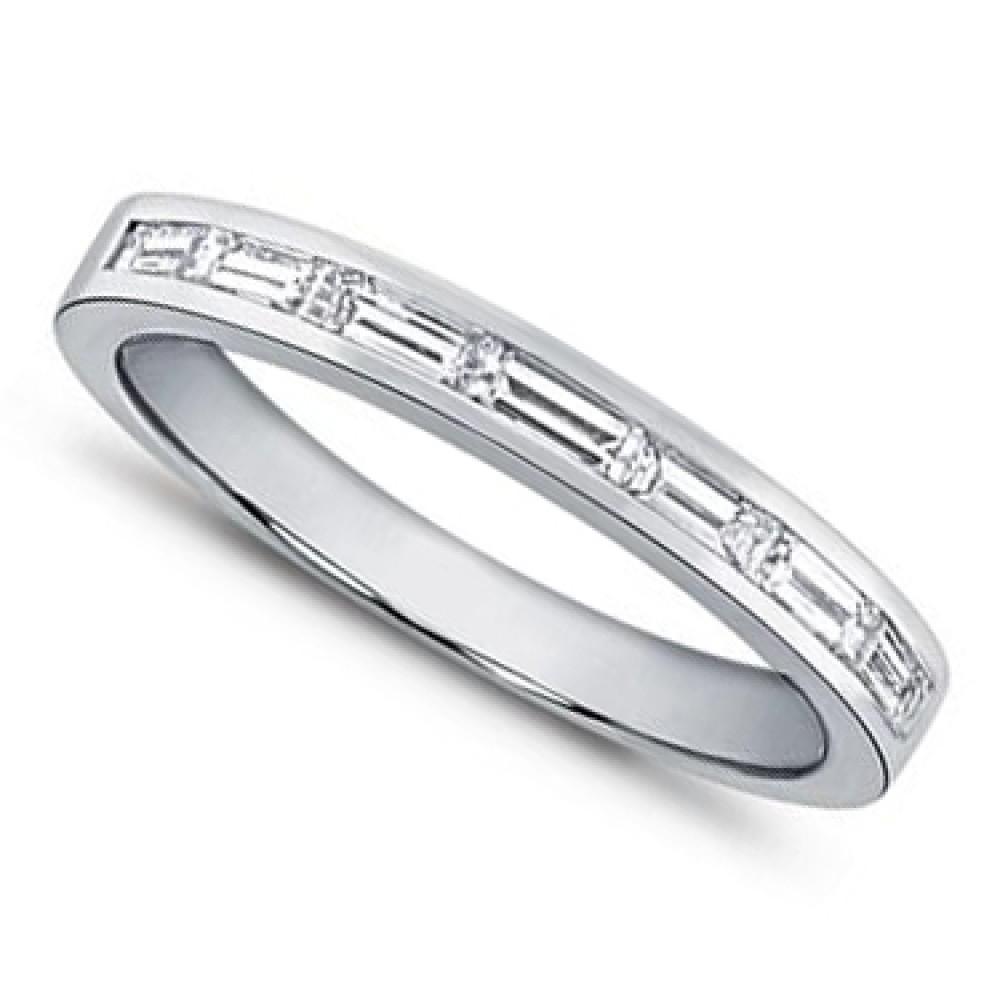 0 75 Ct Ladies Baguette Cut Diamond Wedding Band