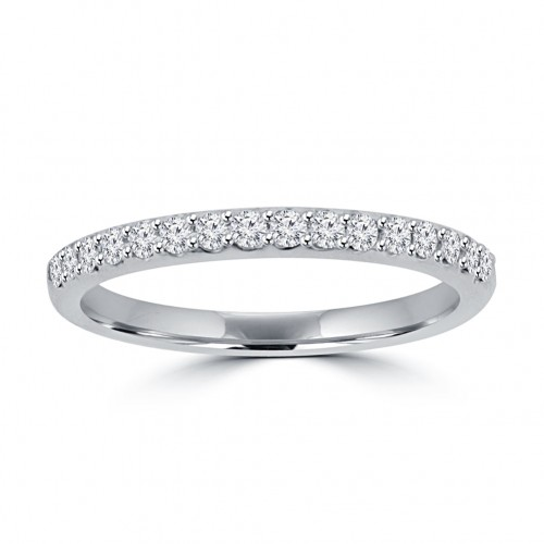 0.35 ct Ladies Round Cut Diamond Wedding Band in 14 kt White Gold