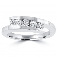 0.55 ct Ladies Round Cut Diamond Wedding Band in 14 kt White Gold